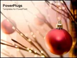 PowerPoint Template - Red ornament on lit tree.