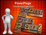 PowerPoint Template - lanning concept - what is our plan question in vintage wooden letterpress printing blocks stained b