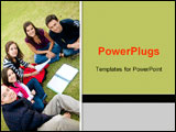 PowerPoint Template - group of students studying outdoors in a college park