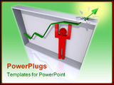 PowerPoint Template - 3D render of a person lifting a trend line to burst from its bounding box.