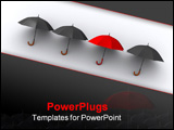 PowerPoint Template - Three black umbrellas and a red one - 3d render