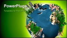 PowerPoint Template - A symbolic overpopulated Earth surrounded by a green halo