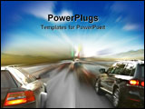 PowerPoint Template - two powerful cars in blurry motion closeup