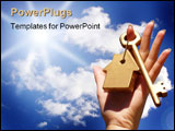 PowerPoint Template - Gold key in woman