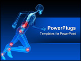 PowerPoint Template - 3d rendered x-ray illustration of a running skeleton with highlighted joints