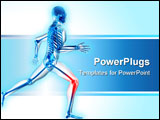 PowerPoint Template - 3d rendered illustration of a running skeleton with highlighted knee