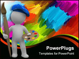 PowerPoint Template - 3d human with paint brush and palette