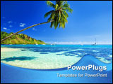 PowerPoint Template - Palm tree hanging over stunning lagoon with blue sky