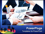 PowerPoint Template - Closeup of business partners? hands holding documents over table during teamwork