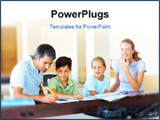 PowerPoint Template - Happy family sitting together and doing their homework