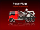 PowerPoint Template - d illustration of large chrome nuts bolts and springs sitting on a red flatbed truck on a reflectiv
