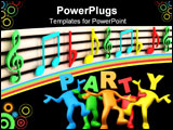 PowerPoint Template - a isolated 3D colorful musical clefs .