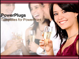 PowerPoint Template - Girl smiling at viewer while at a party with champagne glass.