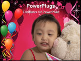 PowerPoint Template - teddy bear with a child over the balloons