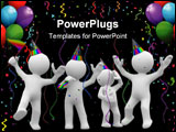 PowerPoint Template - 3d kids jump and laugh in a party