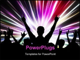 PowerPoint Template - Silhouette of an excited audience on abstract light background