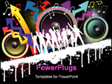 PowerPoint Template - Silhouettes of people dancing on colorful grunge background