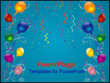 PowerPoint Template - Balloons ribbons stars and confetti over blue-vector background