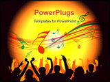 PowerPoint Template - silhouette of a group of people at a music or party