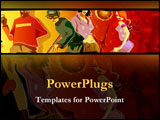 PowerPoint Template - Illustrated party-goers dance together.