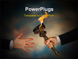 PowerPoint Template - Businessmans outstretched arm passing a flaming torch to another businessmans open hand