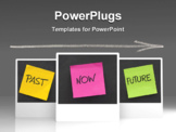 PowerPoint Template - time concept - past present future colorful sticky notes on blackboard with white chalk arrow and eraser smudges