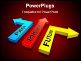 PowerPoint Template - three arrows showing ways to past, present and future