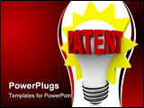 PowerPoint Template - The word Patent in red letters on a light bulb