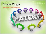 PowerPoint Template - The word Patent surrounded by many colorful light bulbs