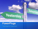 PowerPoint Template - three-way sign pointing to yesterday, today and tomorrow