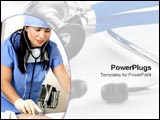 PowerPoint Template - Hospital worker takes care of patient.