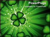 PowerPoint Template - Four leaf lucky clover on a starburst background