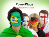 PowerPoint Template - patriotic, group, people, different, countries, flags, painted, faces,