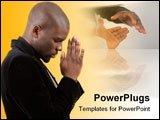 PowerPoint Template - This is an image of a businessman praying for success.