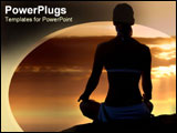PowerPoint Template - Sillouhette of woman meditating.