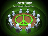 PowerPoint Template - Meeting room with the symbol of peace on it.