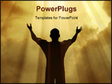 PowerPoint Template - Man holding arms up in praise against a sunburst