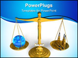 PowerPoint Template - Blue Earth globe and bullet cartridges on golden scales isolated over white background