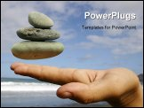 PowerPoint Template - pebbles floating at fingertips