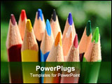 PowerPoint Template - close-up of some colored pencils over a green background