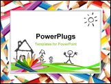 PowerPoint Template - illustration of colored pencils for school and kids