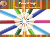 PowerPoint Template - Color pencils arranged and isolated on white background