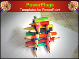 PowerPoint Template - constructin of small pencils over white writing book