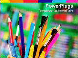 PowerPoint Template - Brushes colored pencils and crayons ready for art projects.