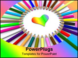 PowerPoint Template - color pencils around heart.