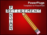 PowerPoint Template - pencil filling in crossword with the words - pension and retirement