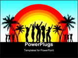 PowerPoint Template - Silhouettes of people dancing on summer background