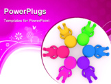 PowerPoint Template - Group of 3D colorful people making a circle with their heads together on the floor - isolated over white