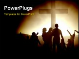 PowerPoint Template - Silhouettes of family and people at the cross of Jesus.