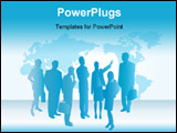 PowerPoint Template - Group of business people with the world map in the background.
